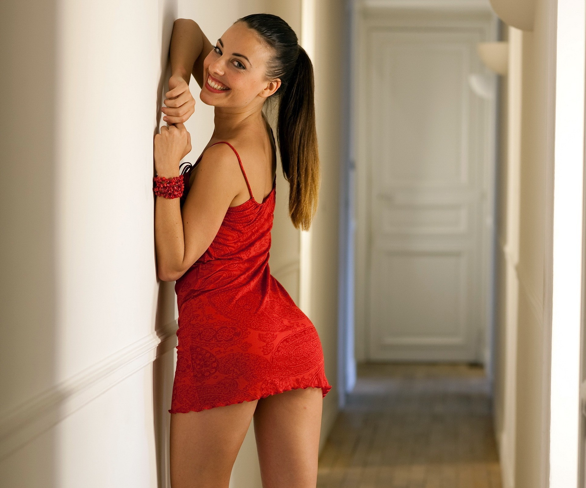anal penetration for the appetitive brunette in the red dress  300169
