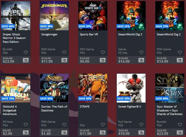 Ofertas de PS4, PS3  y PSvita holiday sale. Semana 1