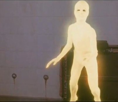 "Image of an alien from the movie, ""Cocoon,"" which looks like a blank, feature-less human figure"