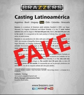 Brazzers dijo:  ATTENTION: This is NOT Brazzers. A fraudulent casting call for Latin America is circulating on Facebook. Please share so others are aware.
