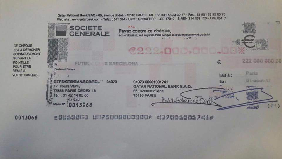 El cheque que recibi...