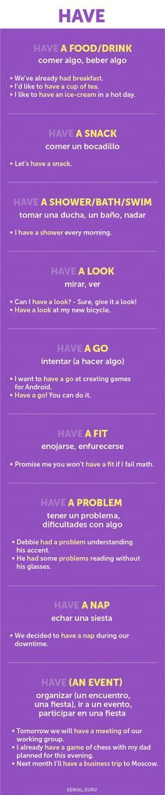 Como usar en ingles look, have, go, take, get, condicionales