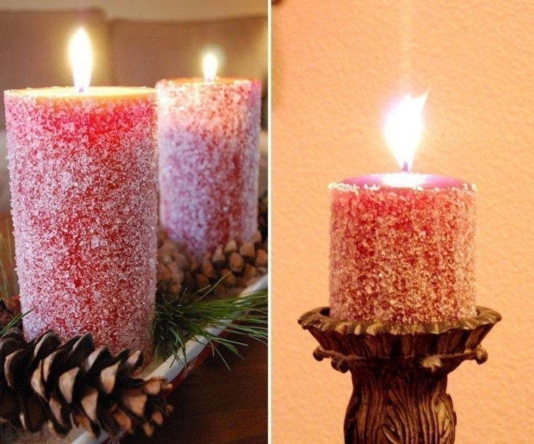Se el rey de la navidad con estas ideas para decorar velas for Decorar jarrones con velas