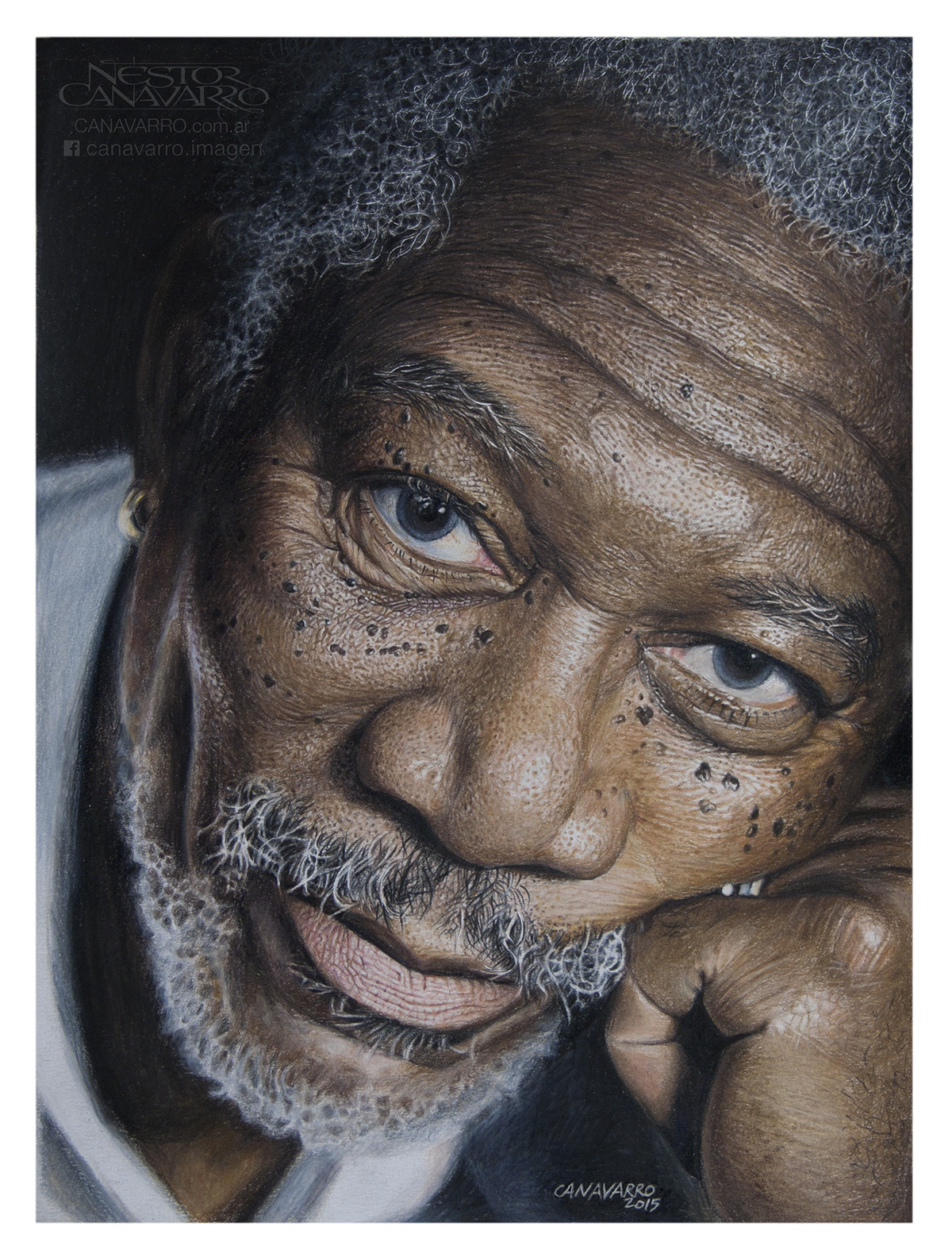 Morgan Freeman - Realismo en lápices de colores