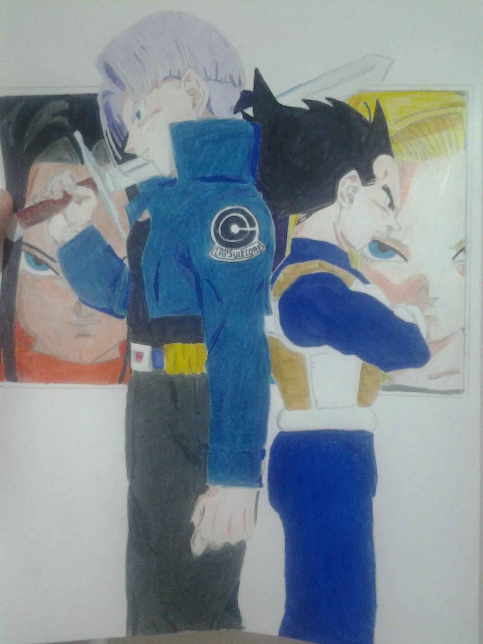 Mi tributo a Trunks y Vegeta (Dibujo propio)